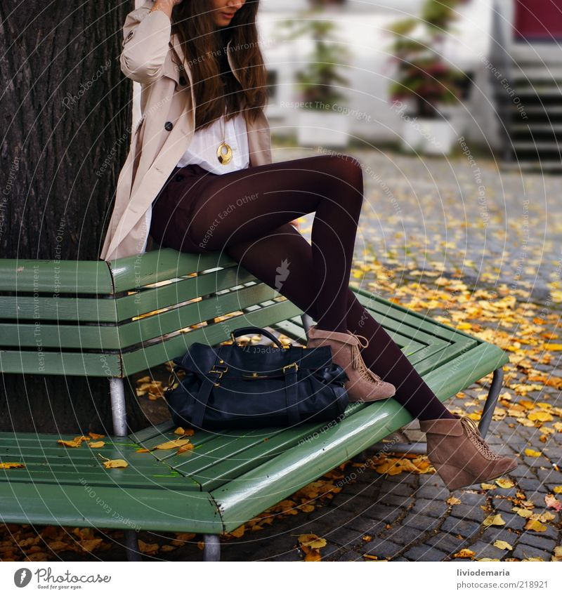 autumn Lifestyle Style Model Feminine Young woman Youth (Young adults) 1 Human being Autumn Tree Fashion Clothing Jacket Stockings Bag High heels Brunette Leaf