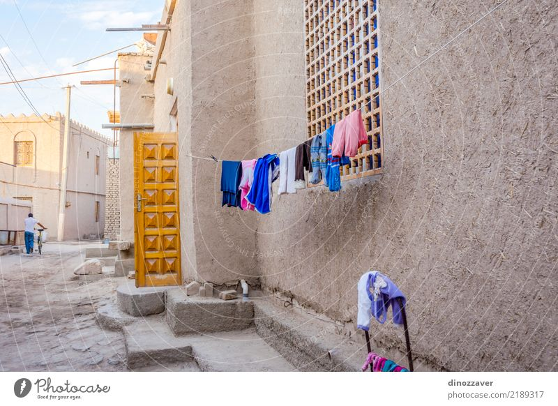 Laundry drying, Khiva, Uzbekistan Style Design Tourism House (Residential Structure) Decoration Art Town Old town Architecture Street Ornament Large Colour