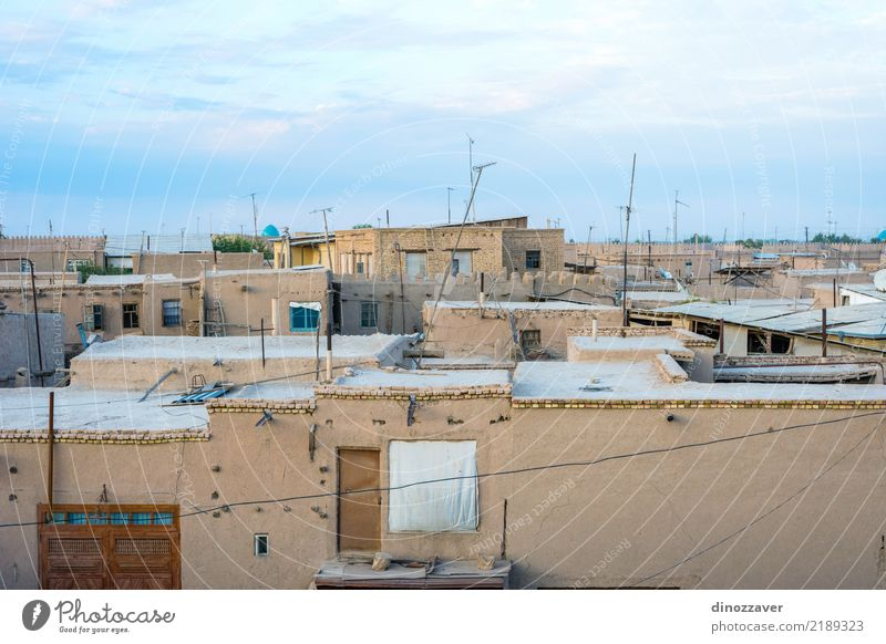 Mud houses in Khiva downtown Style Design Tourism Decoration Art Town Old town Architecture Ornament Large Colour Religion and faith Tradition Uzbekistan Islam