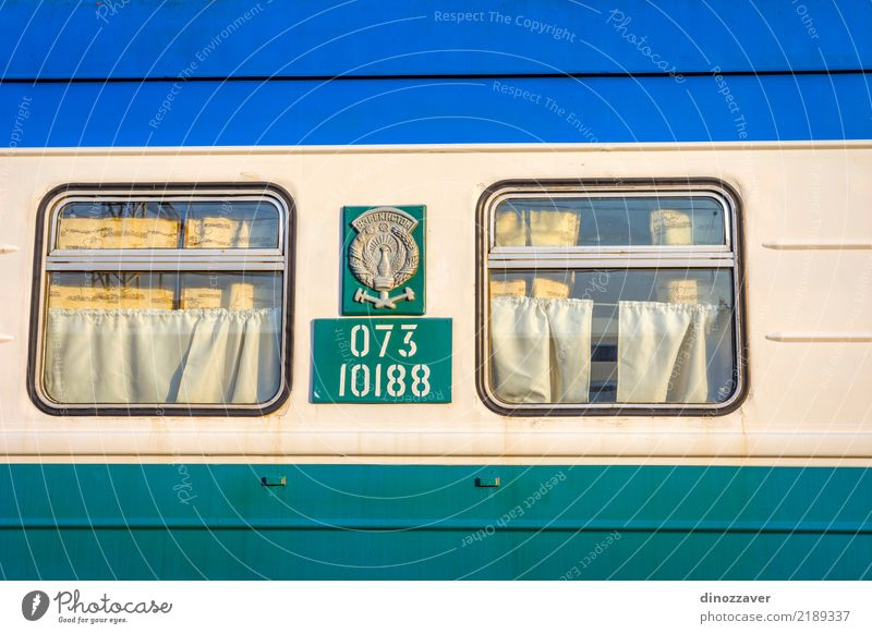 windows of Uzbek train Design Vacation & Travel Decoration Hammer Transport Railroad Engines Bird Metal Steel Shield Old Retro Clean Blue Yellow Green White