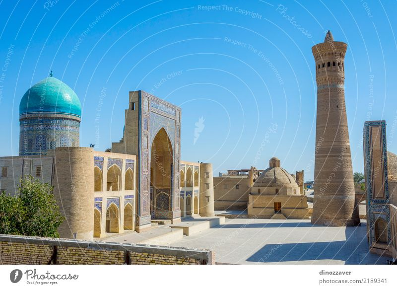 Kalyan minaret and Mir i Arab mosque, Bukhara Design Vacation & Travel Art Culture Building Architecture Facade Monument Brick Ornament Colour