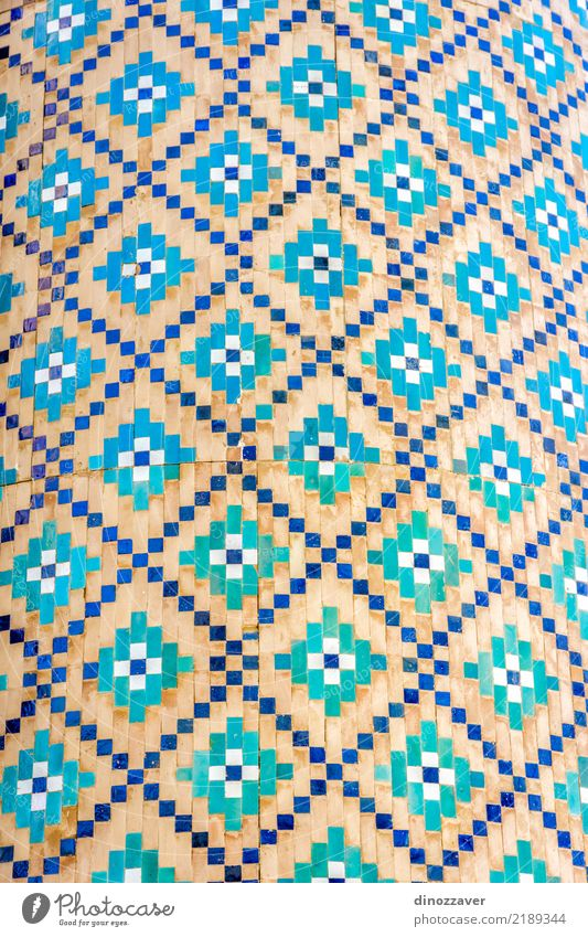 Blue mosaic detail, Uzbekistan Style Design Beautiful Vacation & Travel Art Culture Building Facade Brick Ornament White Religion and faith Tradition Mosaic