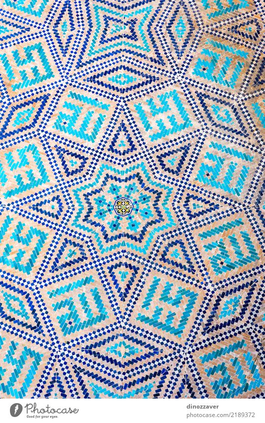 Blue mosaic detail. Samarkand registan Vacation & Travel Sightseeing Summer House (Residential Structure) Decoration Art Museum Building Architecture Facade