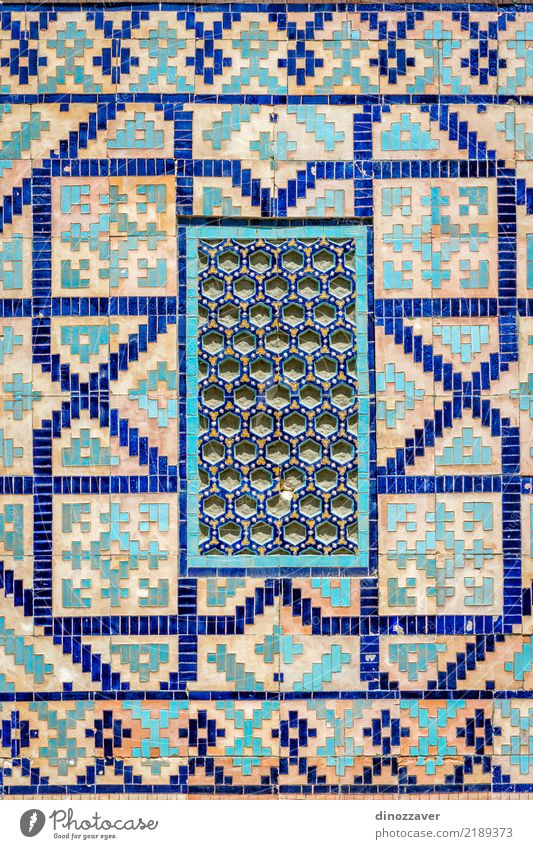 Window at Registan mausoleum, Samarkand, Uzbekistan Vacation & Travel Old Blue Architecture Religion and faith Building Art Facade Design Decoration Historic