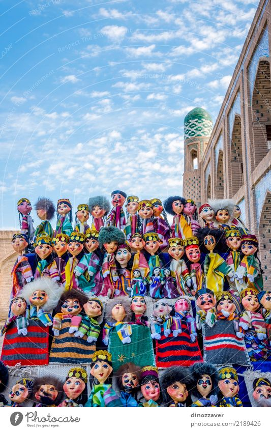 Uzbek puppets dressed in traditional clothes Style Design Vacation & Travel Tourism Decoration Human being Art Building Architecture Fashion Dress Toys Ornament