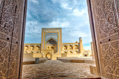Old madrassa through the door, Khiva Blue Town House (Residential Structure) Architecture Religion and faith Style Building Art Design Decoration Asia Tradition
