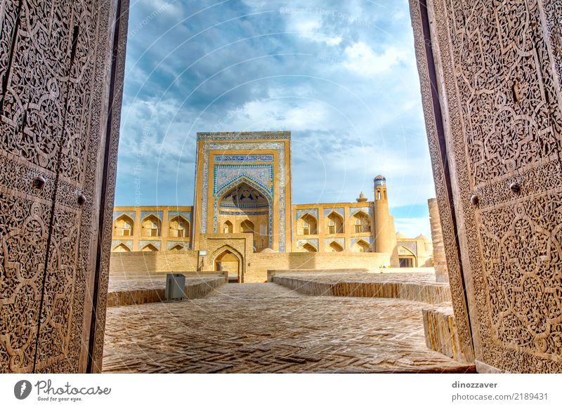 Old madrassa through the door, Khiva Style Design Sightseeing House (Residential Structure) Decoration Art Town Building Architecture Ornament Blue