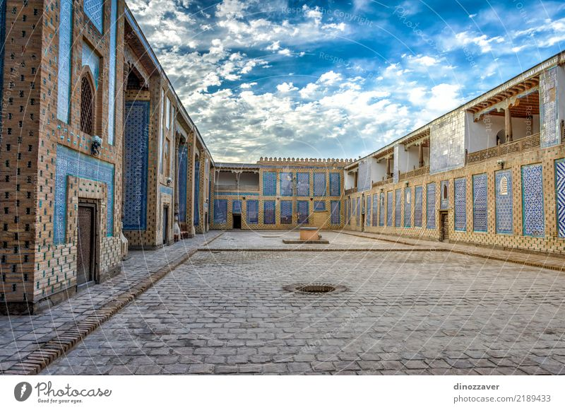 Atrium of the madrassa, Khiva Old Blue Town House (Residential Structure) Architecture Religion and faith Building Art Decoration Asia Tradition Tile Geometry