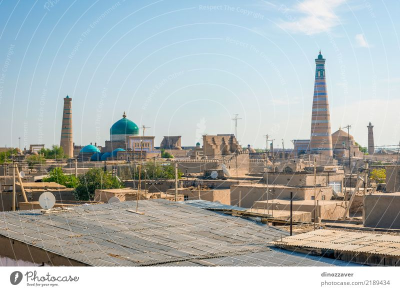 Skyline of Khiva, Uzbekistan Style Design Tourism Decoration Art Town Downtown Old town Architecture Ornament Large Colour Religion and faith Tradition Islam