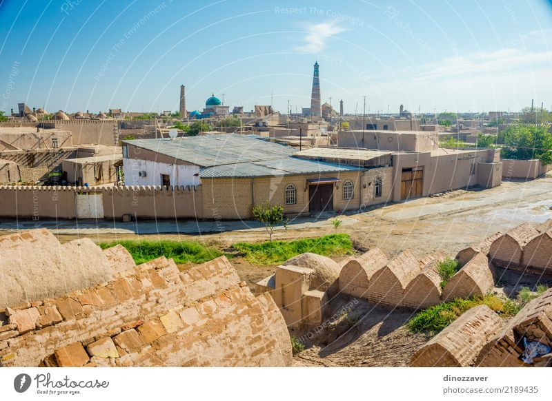 Skyline of Khiva with cemetery Style Design Decoration Town Downtown Old town Architecture Street Ornament Large Colour Religion and faith Tradition Uzbekistan