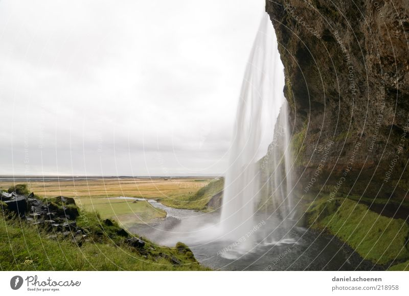 Nature Water Clouds Meadow Mountain Movement Landscape Environment Wet Rock Tall Wild Exceptional Damp Iceland Waterfall