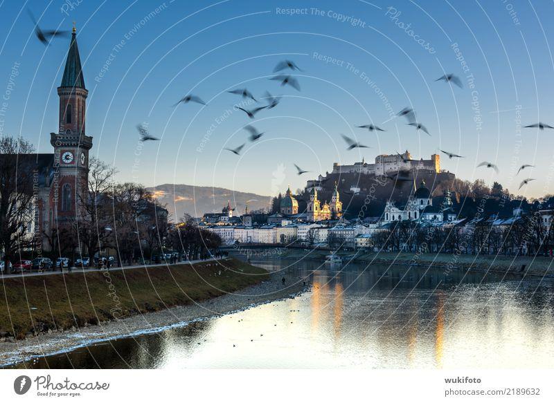 "CITY: Salzburg Town Church Dome Castle Landmark Moody Salzach Fortress Landscape format Horizontal Salzburg cathedrale ""Birds,"" Austria Blue sky ""Landmark,"""