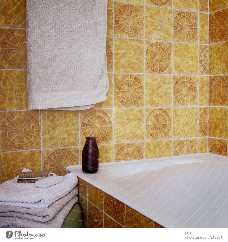 foam bath Personal hygiene Wellness Harmonious Relaxation Living or residing Flat (apartment) Bathroom Bathtub Brown Yellow White Towel Colour photo
