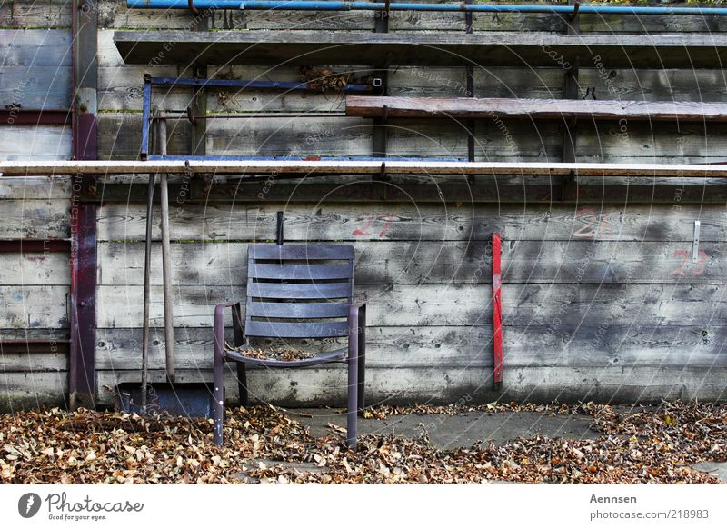 severe bowel movement Garden Chair Broom Shovel Environment Autumn Leaf Deserted Places Wall (barrier) Wall (building) Wood Rust Old Gloomy Moody Loneliness