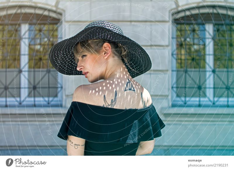 Fashion portrait woman with hat Shopping Style Design Event Feminine Young woman Youth (Young adults) Body Face 18 - 30 years Adults Cool (slang) Authentic