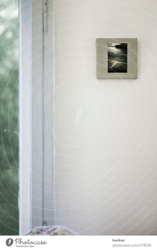 picture Wall (barrier) Wall (building) Window Souvenir Soft Image Photography Canvas Corner of the room Looking Favorite thing Copy Space left Deserted White