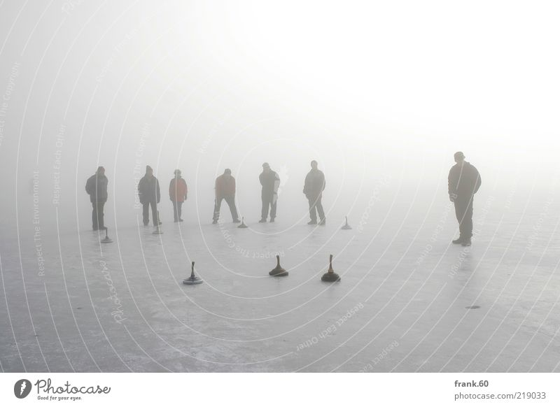 Ice Stock Human being Life Group Nature Water Winter Fog Frost Lakeside Lake Chiemsee Freeze Playing Sports Stand Together Cold Gray White Joy Contentment
