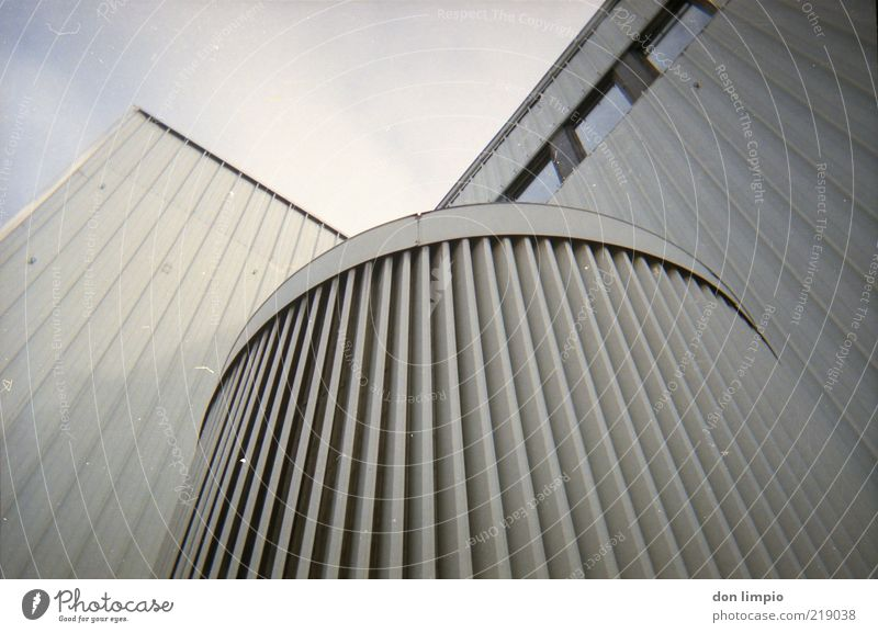 Sky White Gray Architecture Facade Future Gloomy Round Factory Manmade structures Container Sharp-edged Disk Ventilation Ventilation shaft Vent slot