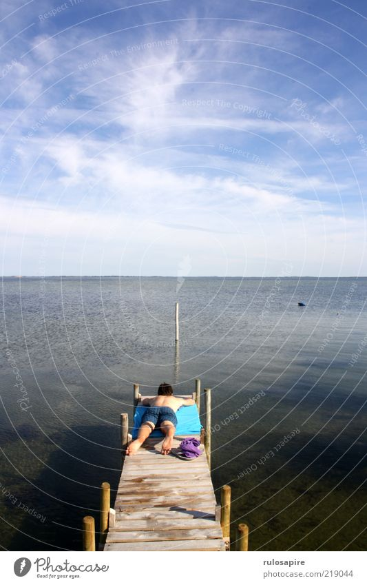 Danish summer rest Well-being Relaxation Calm Vacation & Travel Summer Summer vacation Sun Sunbathing Ocean Sailing Human being Masculine Man Adults 1 Landscape