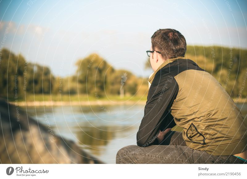 Riverboy4 Human being Masculine Young man Youth (Young adults) Man Adults 1 18 - 30 years 30 - 45 years Nature Water Autumn Tree Lakeside River bank Pants