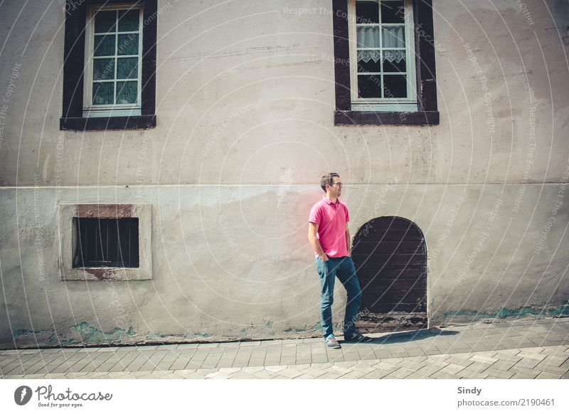 Human being Man Relaxation Adults Fashion Stone Pink Facade Contentment Masculine Body Door Stand Crazy Clean Village