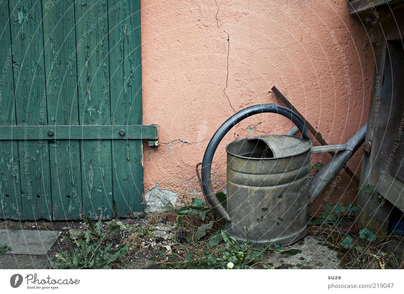 Old Wall (building) Natural Garden Metal Leisure and hobbies Dirty Gloomy Authentic Simple Transience Dry Past Decline Nostalgia Gardening