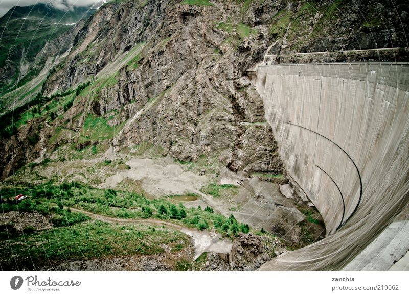 dam Environment Landscape Alps Mountain Brown Green Safety Protection Nature Retaining wall Valley Switzerland Colour photo Subdued colour Exterior shot