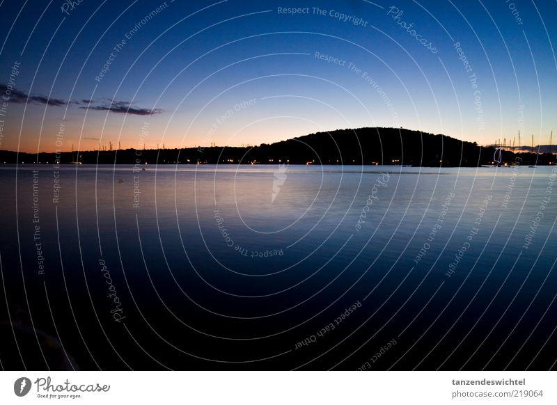 Ocean Blue Vacation & Travel Calm Black Dark Watercraft Orange Harbour Hill Bay Beautiful weather Dusk Sailboat Mast Croatia
