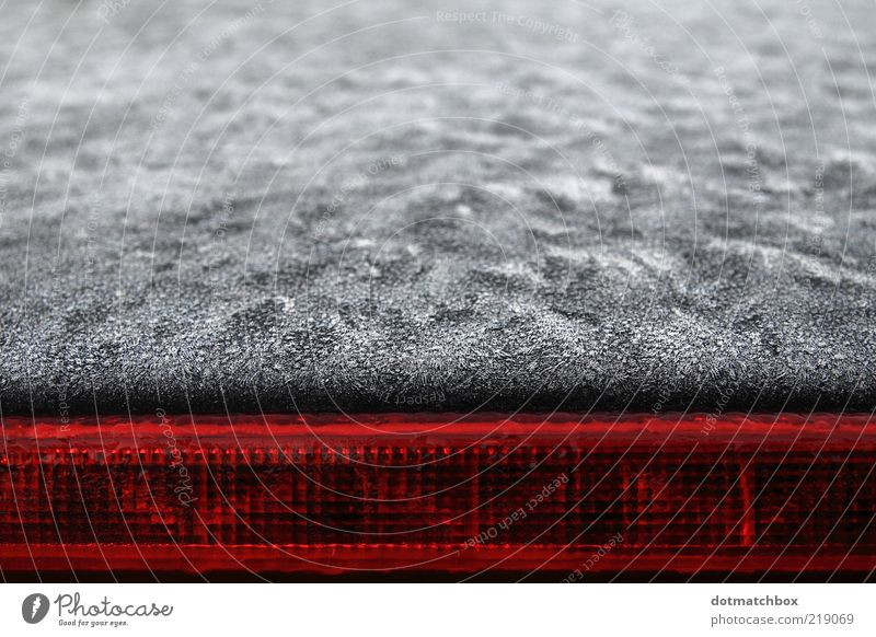 White frost meets warm red Water Ice Frost Car Metal Line Cold Red Black Colour Seasons Colour photo Exterior shot Abstract Pattern Structures and shapes