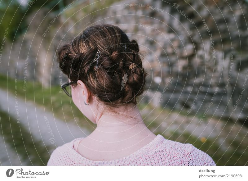 View of hairstyle of a woman in the vineyards Feminine Young woman Youth (Young adults) Woman Adults Head Hair and hairstyles 1 Human being 18 - 30 years