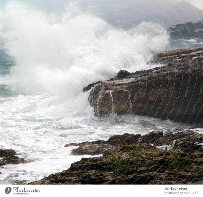 Nature Water Ocean Coast Waves Weather Environment Wet Drops of water Energy Rock Dangerous Threat Climate Gale Storm