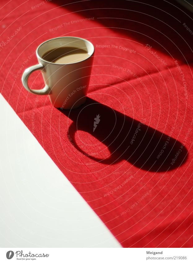White Red Food Table Coffee Break Delicious Cup Beverage Shadow Coffee cup Hot Chocolate Café au lait To have a coffee