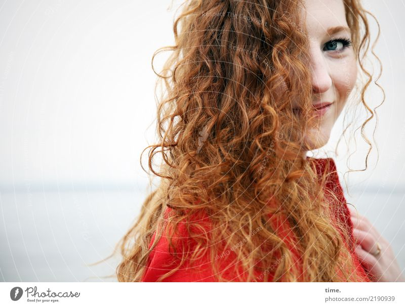 nina Feminine Woman Adults 1 Human being Water Horizon Coast Baltic Sea Dress Red-haired Long-haired Curl Observe Smiling Looking Beautiful Warmth Wild