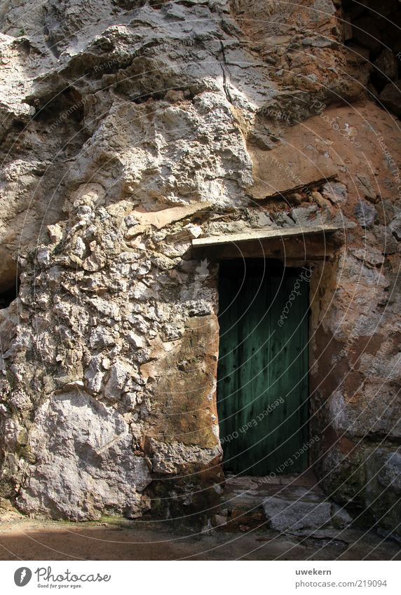 Nature Old Green Stone Door Environment Earth Closed Entrance Beautiful weather Majorca Passage Massive Front door Wall of rock Stone wall