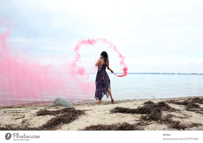 pink steam (I) Feminine Woman Adults 1 Human being Sand Sky Coast Beach Baltic Sea Seaweed Dress Black-haired Long-haired colour torch To hold on Going Playing