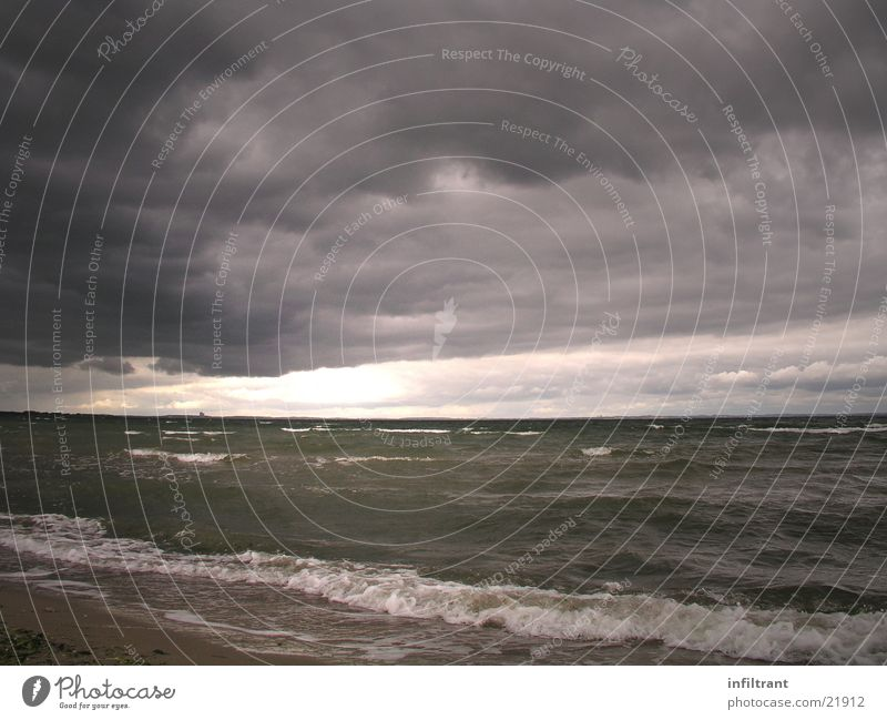 Water Sky Ocean Beach Clouds Dark Gray Waves Coast Threat Gale Storm Baltic Sea Raincloud