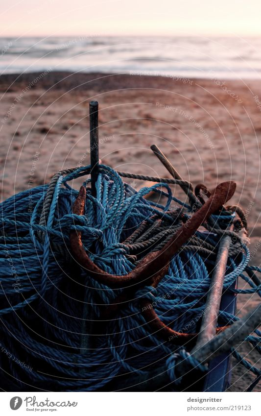 network linkage Fishery Coast Beach North Sea Ocean Fishing boat Anchor Rope Lie Calm Closing time Unemployment Completed End Fish trap Synthesis Connection