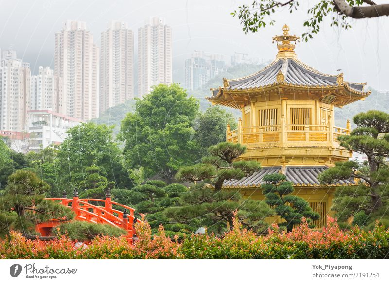 Nan Lian Garden at Hong Kong. Vacation & Travel Blue Summer Green Landscape Red Architecture Religion and faith Style Building Tourism Lake Park Gold Bridge