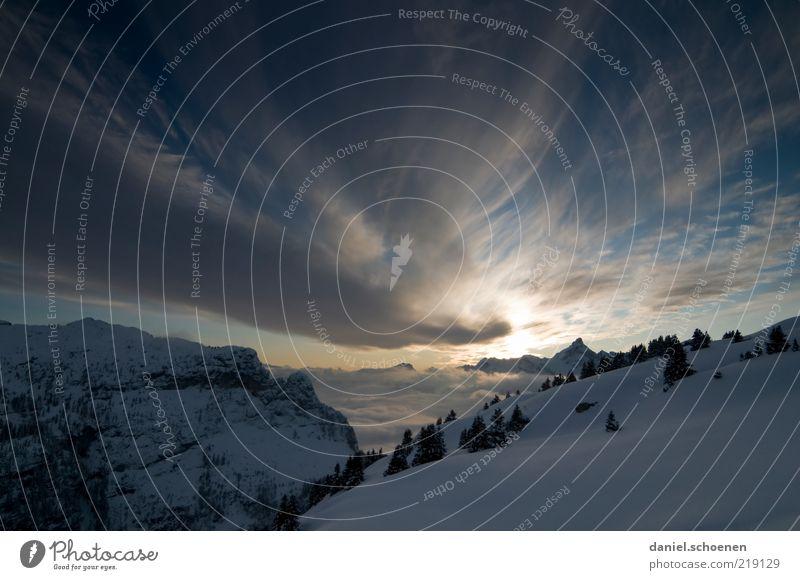 Sky Blue Winter Calm Clouds Far-off places Cold Snow Mountain Ice Rock Frost Alps Peak Beautiful weather Sunrise