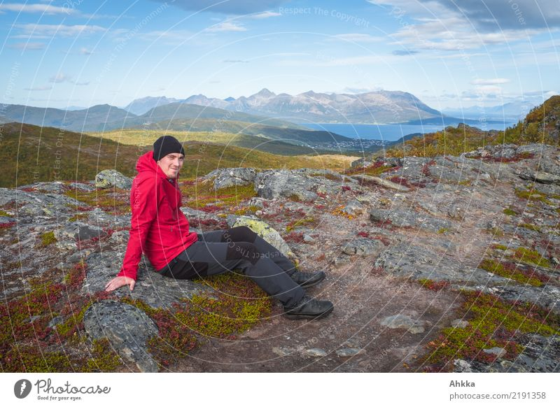 Young man in front of Norwegian scenery Vacation & Travel Trip Adventure Youth (Young adults) Nature Landscape Autumn Rock Mountain Ocean Norway Lofotes