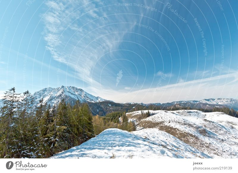 first snow Nature Landscape Sky Winter Weather Beautiful weather Snow Alps Mountain Peak Snowcapped peak Large Tall Blue Green White Calm Freedom Snowscape