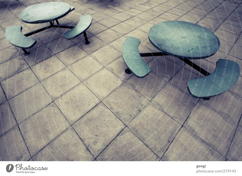 Green Blue Dark Cold Wood Gray Stone Metal Fear Concrete Table Gloomy Bench Chair Creepy Plastic