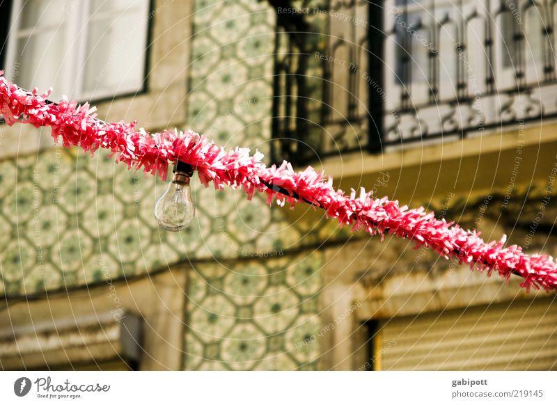 fiesta Event Feasts & Celebrations Facade Balcony Happiness Pink Joie de vivre (Vitality) Lisbon Fairy lights Electric bulb Paper chain Festival