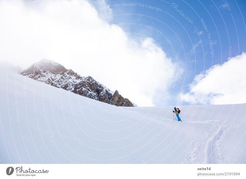ski tour Vacation & Travel Adventure Freedom Winter Mountain Sports Skiing Skis Sky Cold Happy Contentment Willpower Brave Ski tour Freestyle Powder snow