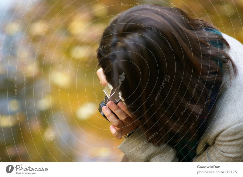 second. Human being Woman Adults Head 1 Scarf Hair and hairstyles Brunette Camera Emotions Moody Anticipation Take a photo Concentrate Patient Calm Colour photo