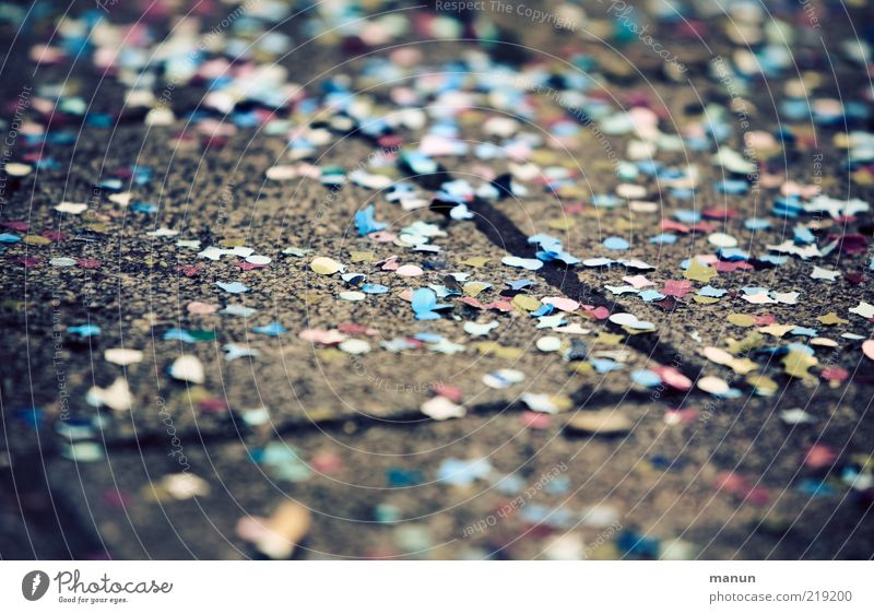 confetti Party Event Feasts & Celebrations Carnival Confetti Moody Joy Happiness Exuberance Hung-over Colour photo Exterior shot Close-up Day Lie Deserted