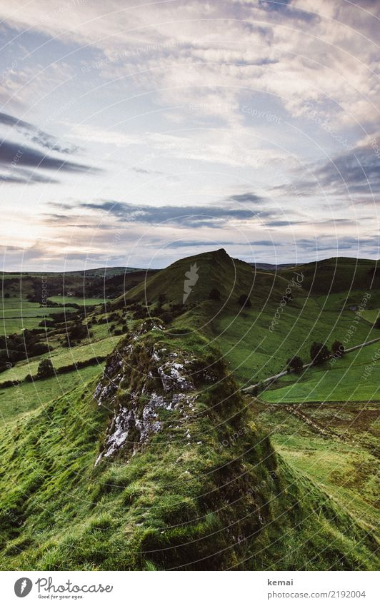 Hilly Senses Relaxation Calm Trip Adventure Far-off places Freedom Nature Landscape Sky Clouds Summer Weather Grass Meadow Rock Peak England Authentic Large