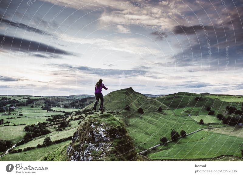 Human being Sky Vacation & Travel Summer Green Landscape Clouds Far-off places Lifestyle Grass Happy Freedom Exceptional Flying Above