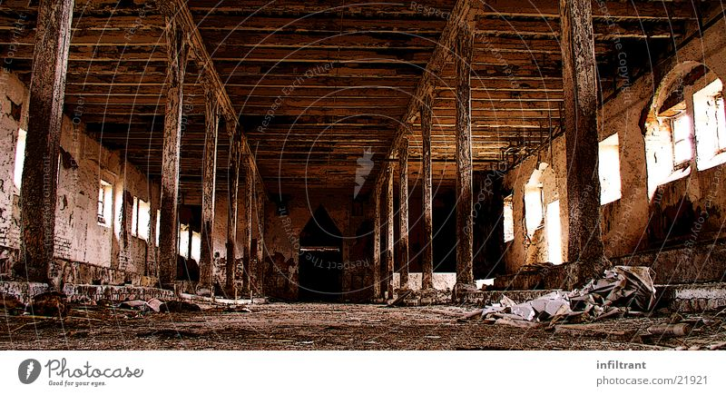 Old stable Barn Building Derelict Agriculture Transience interior view Interior shot