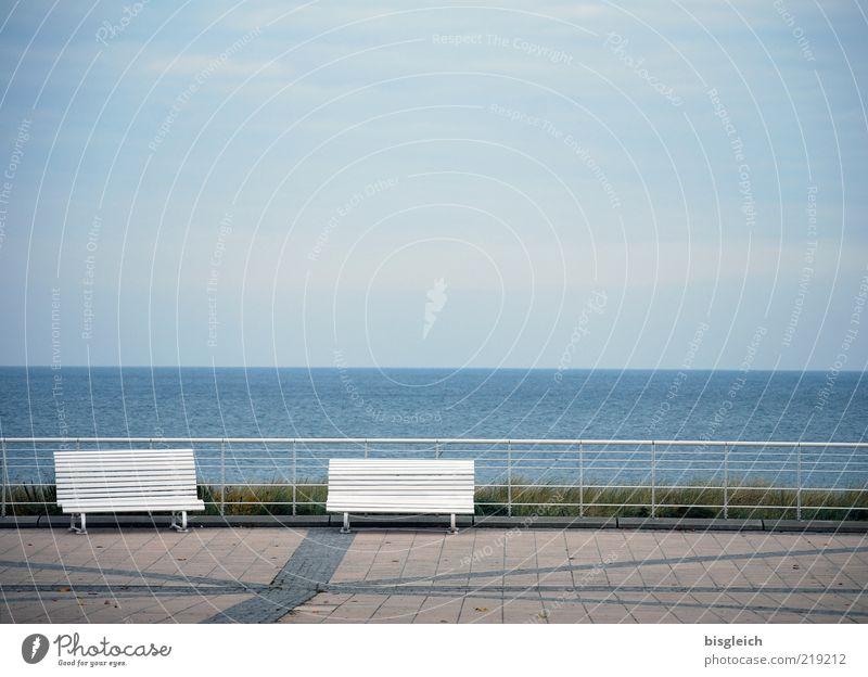 Water Sky Ocean Blue Beach Calm Loneliness Autumn Gray Air Germany Horizon Empty Europe Bench Handrail